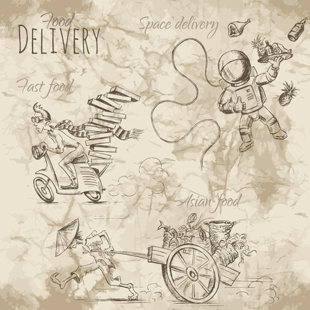 hurry: People in a hurry to deliver food and drinks on different ways. Illustration