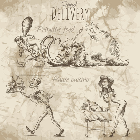 different ways: People in a hurry to deliver food and drinks on different ways. Illustration