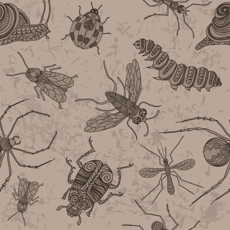 stag beetle: Hand drawn seamless pattern with different beetles.