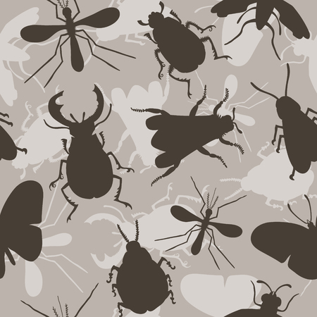 beetles: Hand drawn seamless pattern with beetles.