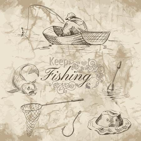 Croquis de la pêche. Un pêcheur dans un bateau, crochet, filet et poisson sur fond vieux papier. Vector illustration.
