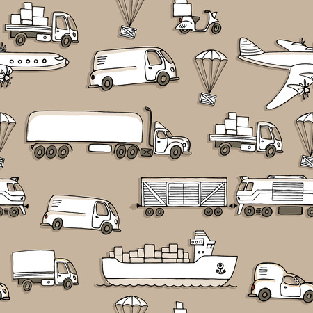 seaway: Seamless pattern with different types of transport delivery, delivery ways and logistics in business and industry with scooter, bus, trucks, airplane, railway, seaway cargo ship and other.