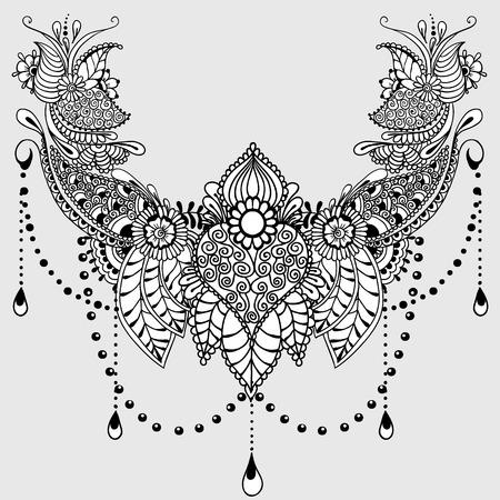 Sjabloon voor tattoo design met mehndi elementen. Bloemen ornament. Islam, arabisch, indisch, Ottomaanse motieven. Zwart-wit vector illustratie op lichtgrijze achtergrond. Stock Illustratie