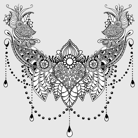 Template for tattoo design with mehndi elements. Floral ornament. Islam, arabic, indian, ottoman motifs. Black and white vector illustration on light grey background.