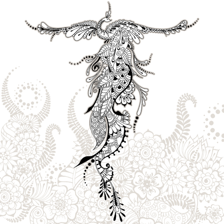 peacock feathers: Illustration of flying Phoenix Bird. Peacock with spread wings in mehndi style. Vector template for tattoo.