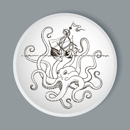 Hand drawn sketch of vessel and Kraken monster octopus. Greek mythology. Vector illustration. Illustration