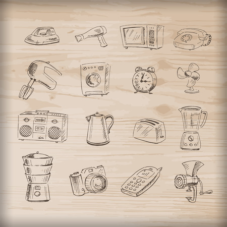 household appliances: Sketches of household appliances on a wooden background, can be used as an icon or other design. Vector illustration.