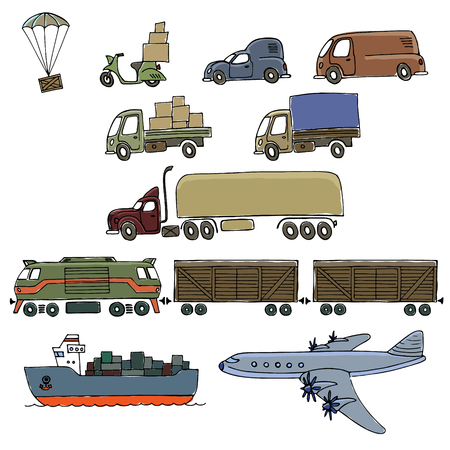 seaway: Types of transport delivery, delivery ways and logistics in business and industry with scooter, bus, trucks, airplane, railway, seaway cargo ship and other.