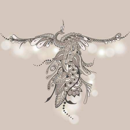Illustration of flying Phoenix Bird. Vector peacock in Henna style. Mehndi design.