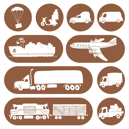 seaway: Types of transport delivery, delivery , logistics in business and industry with scooter, bus, trucks, airplane, railway, seaway cargo ship and other. Illustration