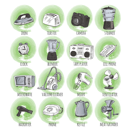iron fan: Sketches of household appliances, can be used as an icon or other design. Vector illustration.