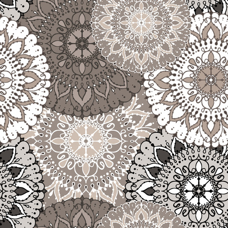 Seamless Pattern With Circular Floral Ornament. Round Pattern ...