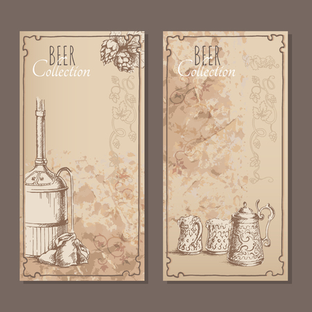 malt: Menu cards for beer with hand drawn sketches of  beer pints, bags with malt and beer tank. Vector illustration.