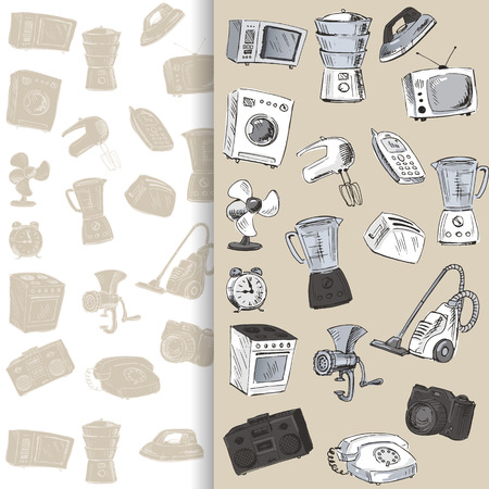 household appliances: Sketches of household appliances, can be used as backgrounds or other design. Vector illustration.