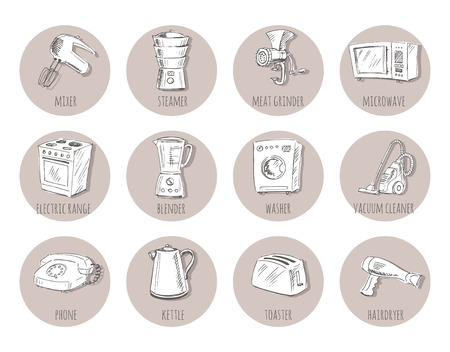 household appliances: Sketches of household appliances, can be used as an icon or other design. Vector illustration.