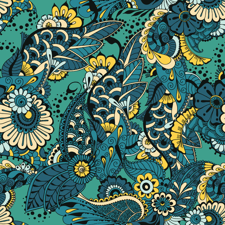 architectural styles: Pattern with floral ornamental design. Floral background. Seamless pattern for your design wallpapers, pattern fills, web page backgrounds, surface textures.