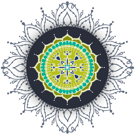 asian and indian ethnicities: Card with circular floral ornament. Round Pattern Mandala. Floral round pattern for the greeting cards,  invitation, template frame design for business style, cards or else. Vector illustration Illustration