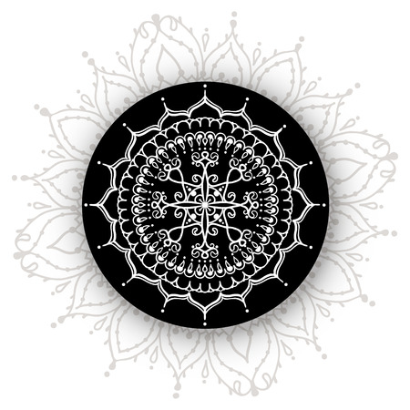 tatto: Card with circular floral ornament. Round Pattern Mandala. Floral pattern for the greeting cards,  invitation, template frame design for business style, cards, tatto or else. Vector illustration