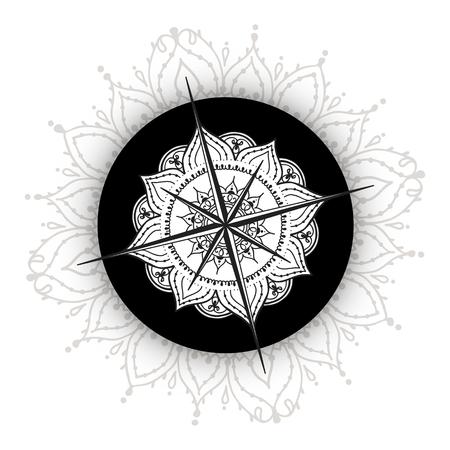 Viento Gráfico Compás Dibujados Con Elementos Florales De Rosas ...