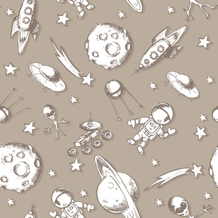 moon rover: Vector hand drawn sketches of Space objects and symbols. Cartoon set. Illustration