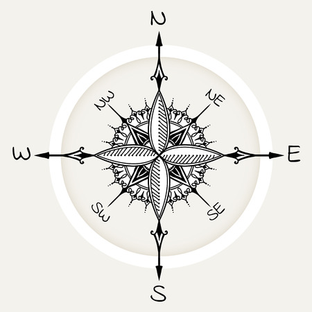 wind rose: Graphic wind rose compass drawn with floral elements. Nautical vector illustration can be used for coloring book page design, tattoo template, business style, print on clothes or else. Illustration