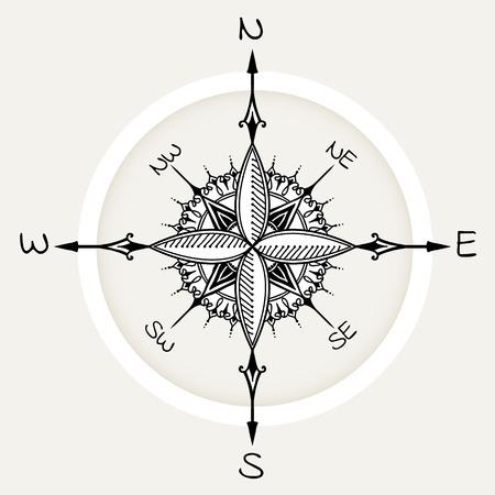 rosa de los vientos: viento gráfico compás dibujados con elementos florales de rosas. ilustración vectorial náutica se puede utilizar para el diseño de la página de libro para colorear, plantilla del tatuaje, el estilo de negocios, imprimir en la ropa o de lo contrario. Vectores