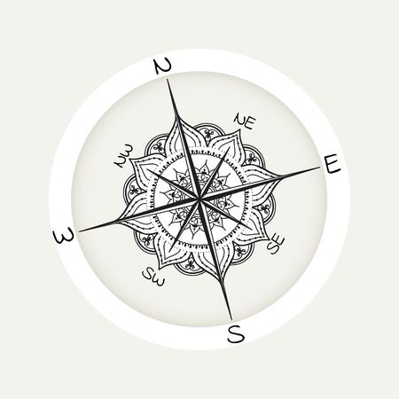 rosas negras: viento gráfico compás dibujados con elementos florales de rosas. ilustración vectorial náutica se puede utilizar para el diseño de la página de libro para colorear, plantilla del tatuaje, el estilo de negocios, imprimir en la ropa o de lo contrario. Vectores