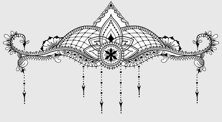 Template for tattoo design with mehndi elements and lotus on the center. Floral ornament. Islam, arabic, indian, ottoman motifs. Black and white vector illustration.