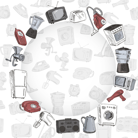 household appliances: Sketches of household appliances arranged on a circle seamless background with different electrical engineering. Vector illustration.