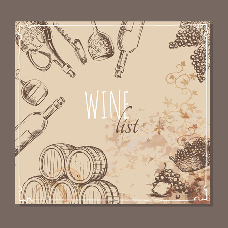 drink coffee: Wine list card. Menu card for wine collections with hand drawn sketches. Vector illustration.