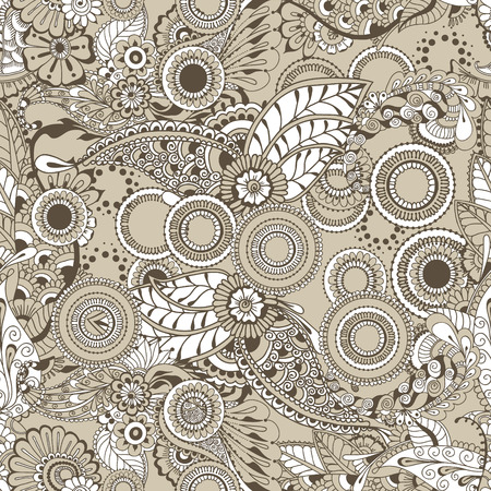 architectural styles: Pattern with ornamental design. Floral background with indian ornament elements. Seamless pattern for your design wallpapers, pattern fills, web page backgrounds, surface textures.