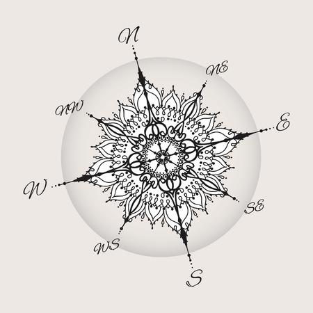 Graphic wind nam kompas met bloemen elementen getrokken. Nautische vector afbeelding kan worden gebruikt voor het kleuren van boekpagina ontwerp, tattoo sjabloon, zakelijke stijl of anders.