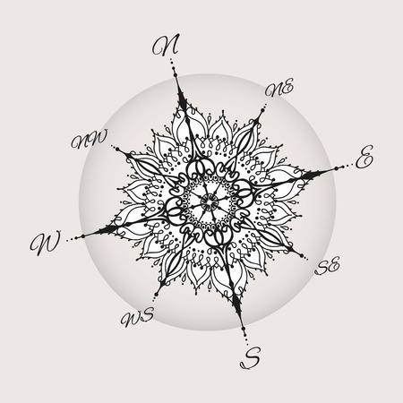 Graphic wind rose compass drawn with floral elements. Nautical vector illustration can be used for coloring book page design, tattoo template, business style or else.