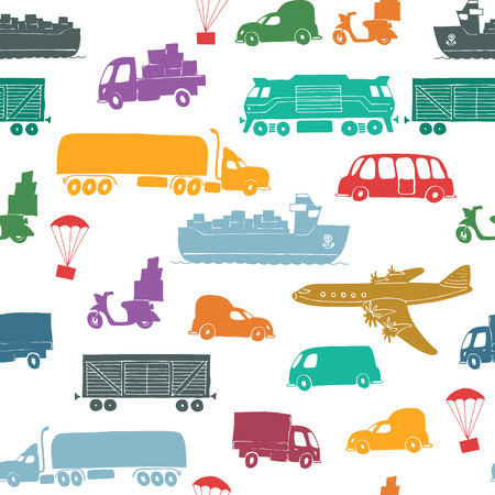 seaway: Seamless pattern with types of transport delivery, delivery ways and logistics in business and industry with scooter, bus, trucks, airplane, railway, seaway cargo ship and other. Illustration