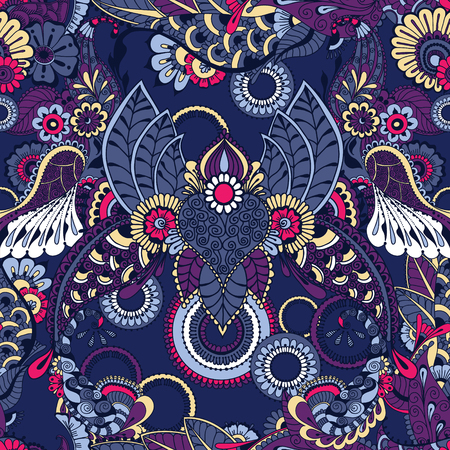 architectural styles: Seamless floral background with indian ornaments. Seamless pattern for your design wallpapers, pattern fills, web page backgrounds, surface textures. Illustration