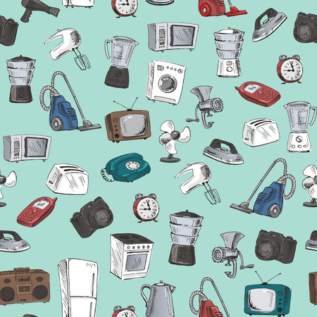 household appliances: Seamless pattern with sketches of household appliances. Vector illustration.