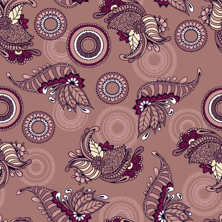 architectural styles: Seamless pattern with floral ornamental design. Floral background with indian elements. Seamless pattern for your design, pattern fills, web page backgrounds, surface textures, print on clothes or else.