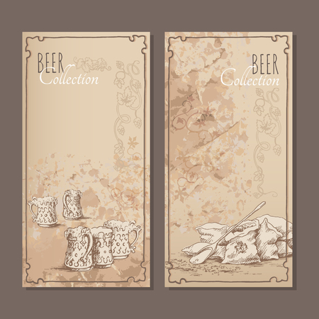 malt: Menu cards for beer with hand drawn sketches of beer glasses and bags with malt. Vector illustration.