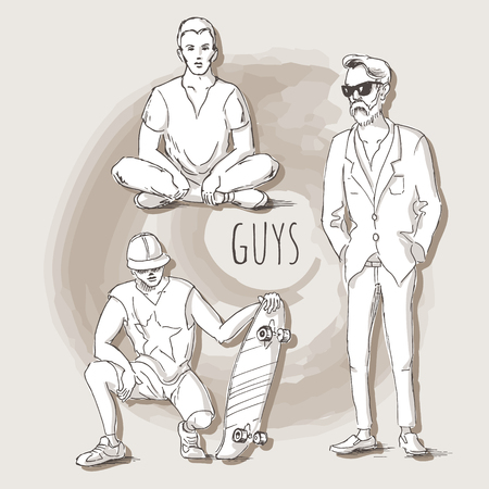 lotus position: Hand drawn illustration of young guys in sketch style. Guy sitting in the lotus position, the guy with skateboard and a man in a suit. Vector illustration for greeting card, poster, or print on clothes. Illustration