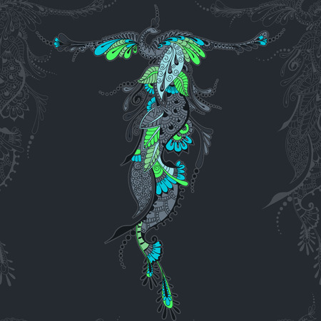 spread wings: Illustration of flying Phoenix Bird. Peacock with spread wings in mehndi style. Seamless vector template. Illustration