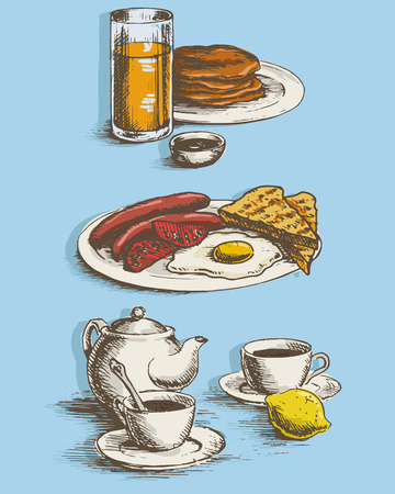 sunny side up: Freehand drawing of the breakfast. Sausages, eggs, sunny side up, toast, crumpets, lemon, tea, juice and coffee with kettle. Vector illustration.
