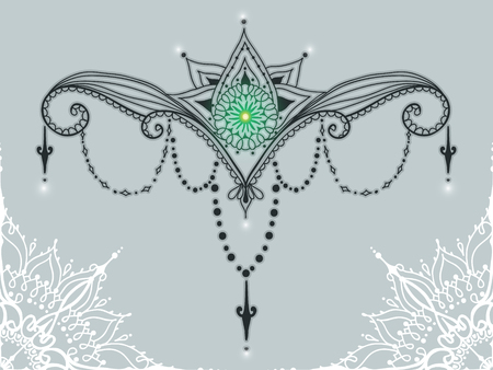 Mehndi Flower Tattoo Designs : Template for tattoo design with mehndi elements and lotus on