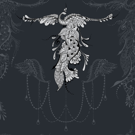 mythical phoenix bird: Illustration of flying Phoenix Bird. Bird with outstretched wings on dark grey background with lace decor.