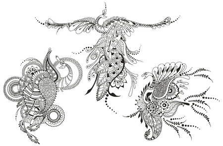 Illustration of three Phoenix Birds. Peacocks for tattoo template, business style, printing on clothes, greeting cards or other Illustration