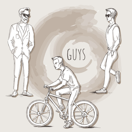 hanging out: Hand drawn illustration of young guys in sketch style. Vector illustration for greeting card, poster, or print on clothes.
