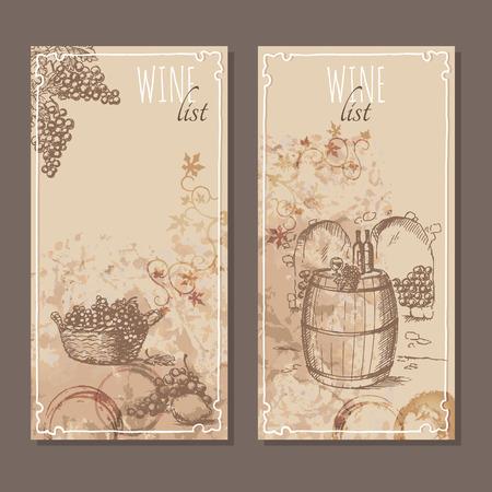 Weinkarte Karten. Menükarten für Weinsammlungen mit Hand gezeichneten Skizzen. Ein paar Trauben. Testen Wein auf einem Fass in einem Keller. Vektor-Illustration.