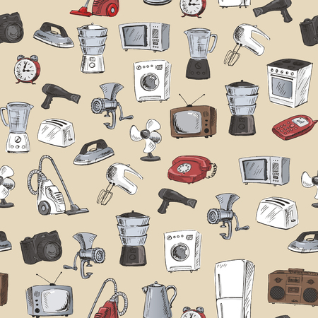 Seamless pattern with sketches of household appliances. Vector illustration. Vektorové ilustrace