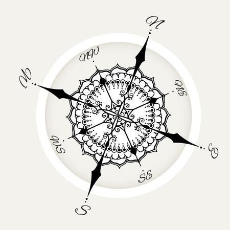 Graphic wind nam kompas met bloemen elementen getrokken. Nautische vector afbeelding kan worden gebruikt voor het kleuren van boekpagina ontwerp, tattoo sjabloon, zakelijke stijl, print op kleding of anders. Stock Illustratie
