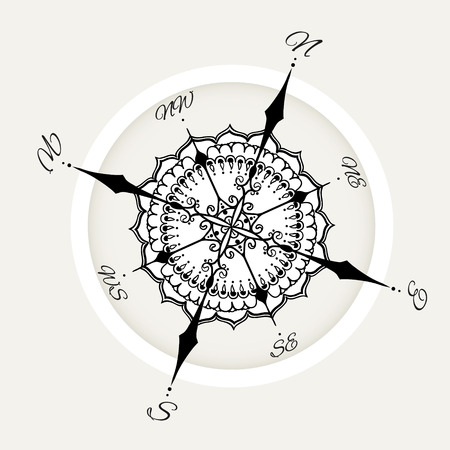 Graphic wind rose compass drawn with floral elements. Nautical vector illustration can be used for coloring book page design, tattoo template, business style, print on clothes or else. Illustration