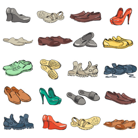 rubber boots: Hand drawing various types of different footwear. Shoes icons sketch, male and female shoes, sandals, boots, moccasins, rubber boots and else. Vector illustration of shoes sketch background.